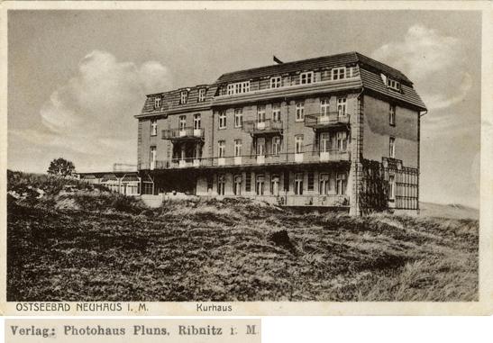 Photohaus Pluns, Ribnitz i.M.; Ostseebad Neuhaus i.M., Kurhaus; Ansichtskarte, ungelaufen