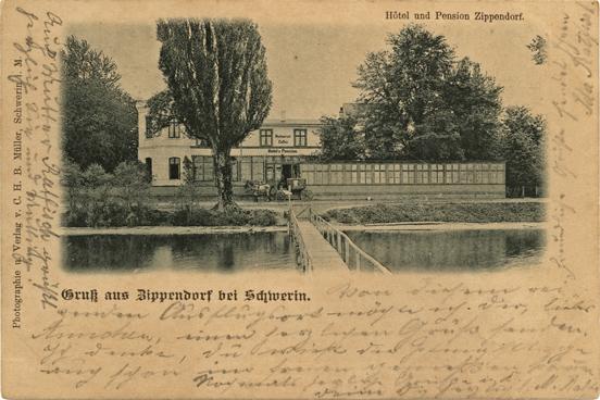 Photographie und Verlag von C.H.B. Müller; Hotel und Pension Zippendorf. Ansichtskarte, 1899 gelaufen