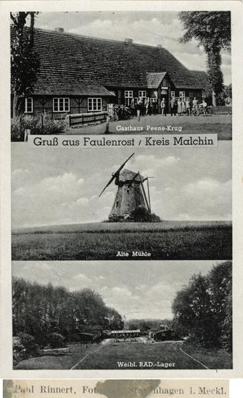 Paul Rinnert, Stavenhagen. Gruß aus Faulenrost. Ansichtskarte