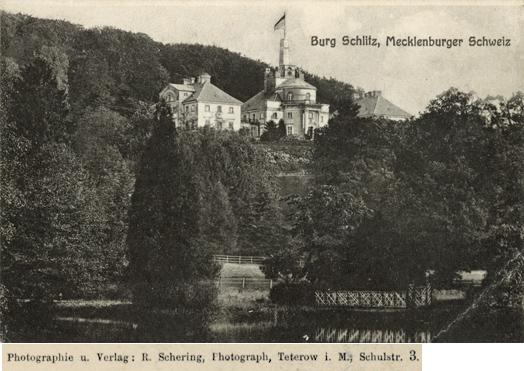 """R. Schering. """"Burg Schlitz"""". Ansichtskarte"""