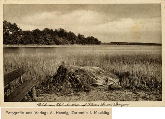 A. Hannig. Blick vom Elefantenstein auf Kleinen See mit Strangen. Ansichtskarte, ungelaufen