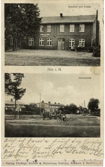 Photographisches Atelier und Handlung Schöpp, Krakow in Mecklenburg. Gasthof zur Linde, Silz i. M.; Ansichtskarte, 1934 gelaufen