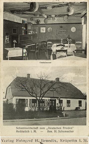 """Fotograf H. Benedix, Kröpelin i.M. Schankwirtschaft zum """"Deutschen Frieden"""", Reddelich i. M.; Ansichtskarte, ungelaufen"""