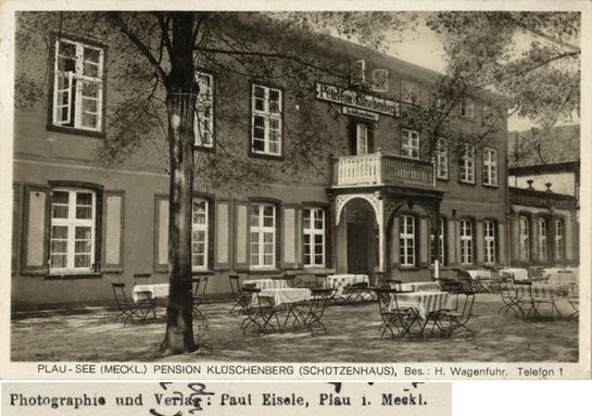 Photographie und Verlag: Paul Eisele, Plau i. Meckl.; Pension Klüschenberg (Schützenhaus); Ansichtskarte, 1932 gelaufen